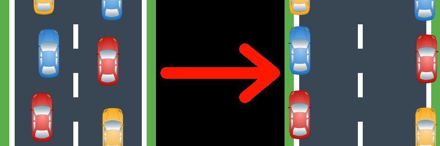 Sind zwei Fahrspuren vorhanden, wird eine Rettungsgasse so gebildet.