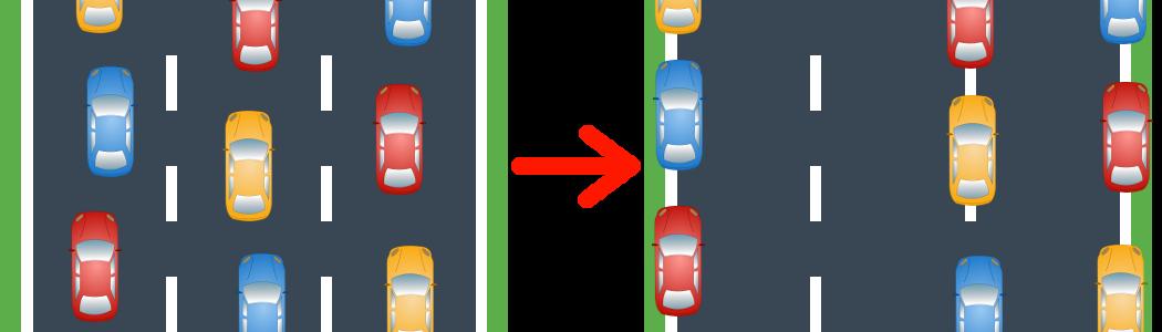 Auf diese Weise wird eine Rettungsgasse bei drei Spuren gebildet.